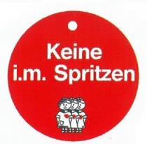 """Memory- Schilder rund mit Aufschrift """"Keine i.m. Spritzen"""